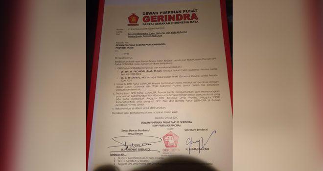 Beredar Surat Rekomendasi Dukungan Gerindra untuk Fachrori-Safrial.