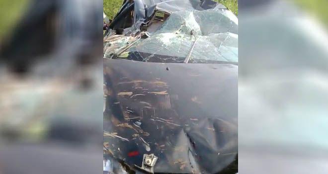 Kondisi mobil yang jatuh di poros Malino