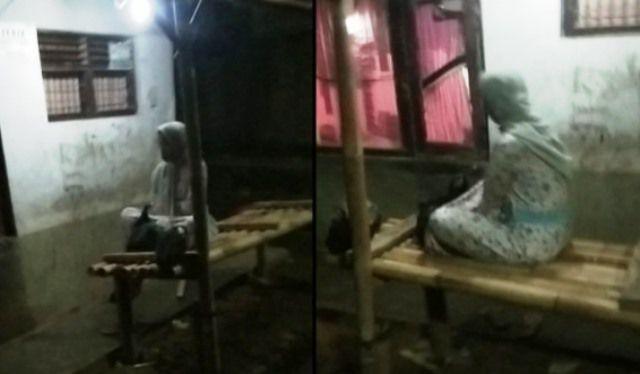 Penampakan perempuan yang disebut 7 hari meninggal terlihat duduk di bale bambu.